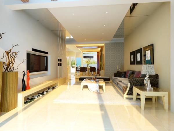 嵌入型电视背景墙,没有多余的装饰,简易的电视柜上摆设了造型独特的工艺品为修饰,力求打造简约时尚的现代生活空间。