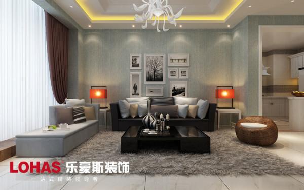 客厅沙发墙设计效果,沙发墙面设计效果如图采用照片墙和壁纸进行装饰。