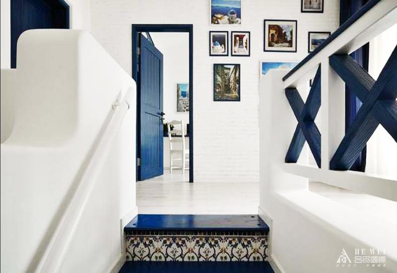 地中海 浪漫空间 色彩组合 蓝紫色香气 楼梯图片来自北京精诚兴业装饰公司在华润萬橡府的分享