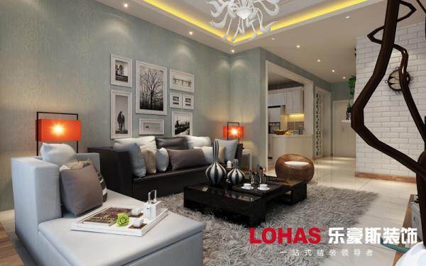 客厅整体色彩基调为淡绿色,配合黑色、白色、咖色进行色彩的调和,整体以简单的线条和色彩构建大气的装修环境。