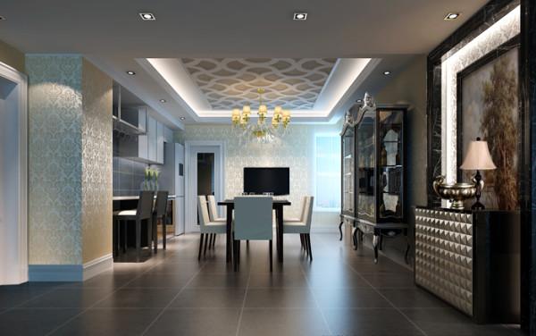 富力城(210平)五居室户型--美式风格餐厅效果图展示