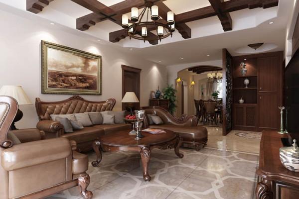 乐府江南(170平)三居室户型--美式风格客厅效果图展示