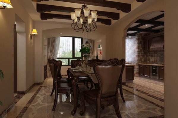 乐府江南(170平)三居室户型--美式风格餐厅效果图展示