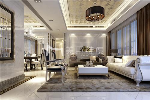 新古典 百瑞景 高贵优雅 奢华细腻 客厅图片来自武汉美臣维度全案设计在百瑞景158平新古典风的分享