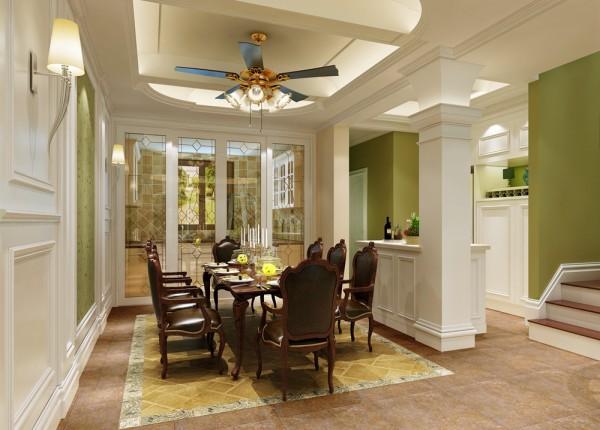 餐厅除了延续客厅的优雅和谐外更加注重实用的功能;朱红色的实木桌椅,复古的吊扇,不仅体现了浓郁的美洲风情,也为整体空间增加了一丝情趣;利用岛台的设置丰富了空间的划分,更具层次感。