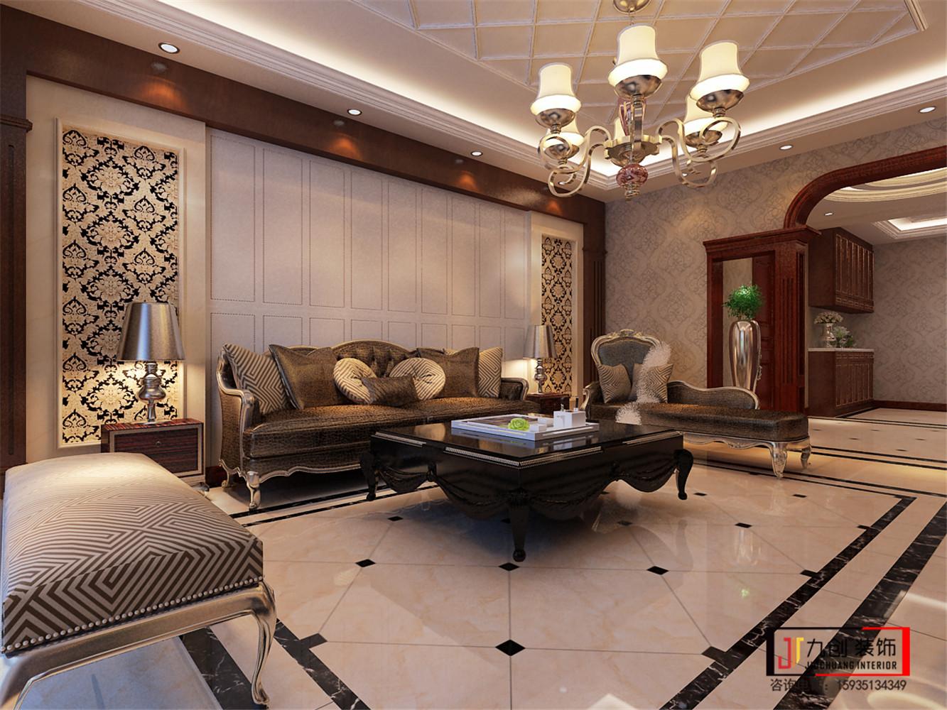 简欧 云水世纪明 三居室 隔断 设计 客厅图片来自昆明九创装饰温舒德在云水世纪明珠140㎡简欧设计的分享