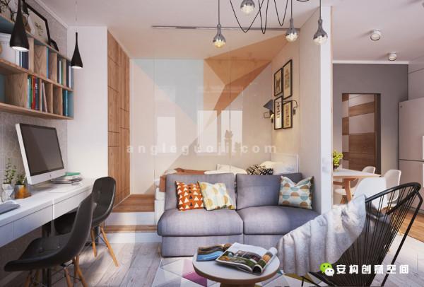 设计师同时利用不同的颜色装饰墙面,与白色墙面形成强烈的反差,这就是设计师所用的独特手法。
