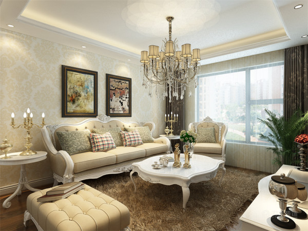 选用欧式风格的家具组合,组合家具的颜色选用咖灰色和流行色。客厅顶部用回字形吊顶加石膏线的造型,并用华丽的吊灯来营造气氛。墙面用大马士革壁纸,以衬托豪华效果。