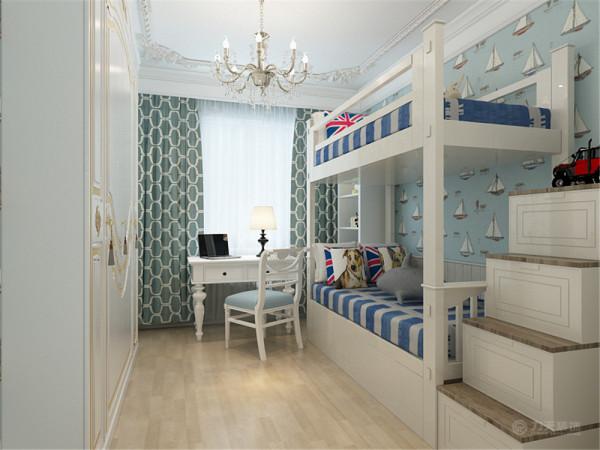 主卧室地面选用木质地板,吊顶比较简单,只有一圈石膏线造型。床头背景墙用欧式造型板通铺。再用一幅油画做点缀。阳台处做了一个飘窗,可作为平时休闲,小憩的位置。
