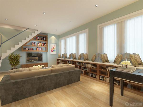 本方案以暖色调为主,一楼墙面刷蓝色乳胶漆,二楼墙面采用壁纸。。电视背景墙比较实用,嵌在楼梯下面。简洁的沙发和茶几以及现代简约风格的画幅来装点空间,做到每一样家具和画面都是独具匠心的。