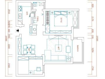 蓝堡湾两室两厅美式乡村装修案例