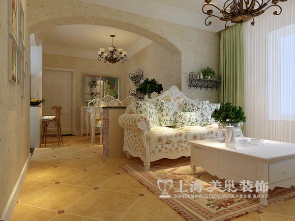 鑫苑景园89平两室两厅田园风格装修效果图--客餐厅