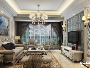 上海实创157平米简欧三居室装修