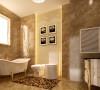 卫生间墙地砖交相辉映,选用同款花色的地板营造一种古朴的田园风光。此外,现代的浴盆及洁具点缀,形成古朴而华丽的空间。