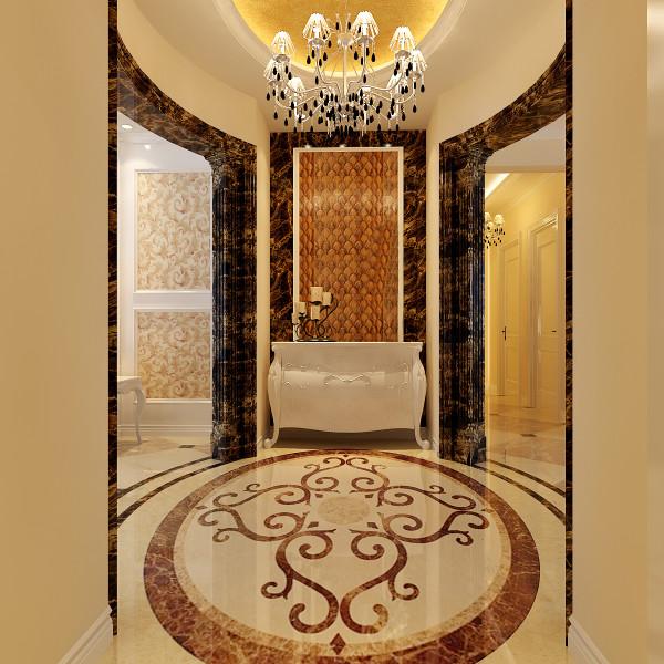 门厅:独立的门厅利用形状外观具有特色的马赛克、水晶灯、石材等这些制品,都给人一种奢华的风范,不抢眼,确十分重要。
