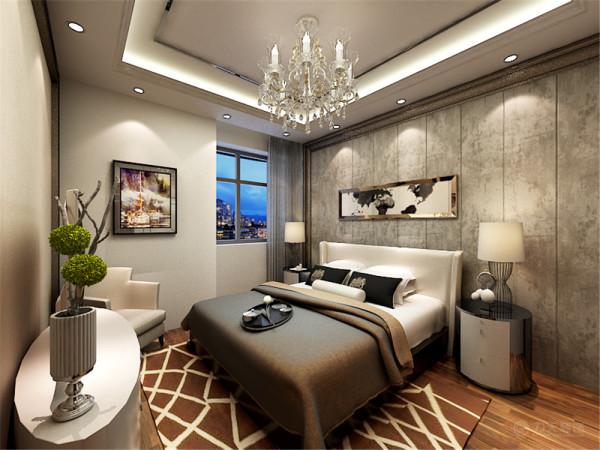 主特别叮嘱卧室做的不要太过明亮,所以卧室没有采用太多光线,又为了不让整个房间显得太过昏暗,加了很多发光材质的装饰。在吊顶上围绕墙面做了一圈装饰,显得非常精致时尚。