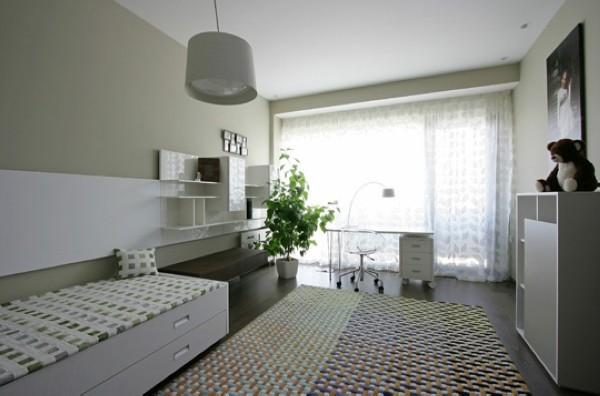 大型毛毯,固定客厅位置,低矮茶几与悬挂电视柜形成落差,增加空间的层次感和立体感。