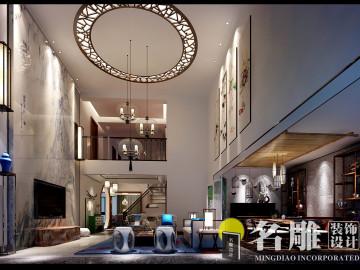新中式风格鲸山别墅装修效果图