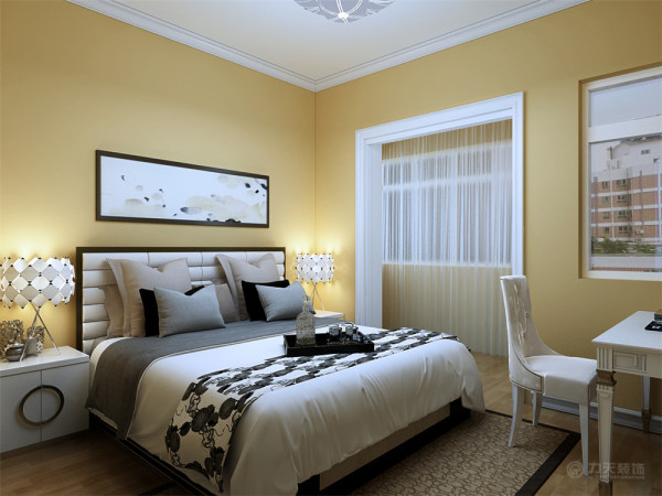 洁的壁画让人感觉更时尚、雅致。卧室的设计依然是以简单的造型为主,床的背景墙以一副现代画为衬托,有层次有立体感。地毯的色彩与房间相呼应上下一体