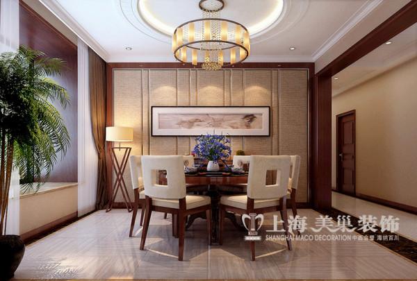 正弘蓝堡湾装修200平四室两厅新中式样板间效果图案例——餐厅全景效果图