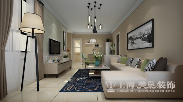 升龙城89平装修案例两室两厅户型现代简约风格效果图——客餐厅全景