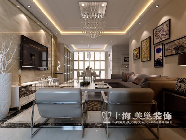 郑州农大家属院装修案例现代简约风格四室两厅180平方居室设计效果图——客厅