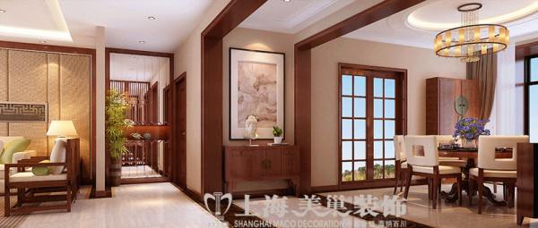 正弘蓝堡湾200平新中式装修四室两厅效果图案例——全景布局效果图