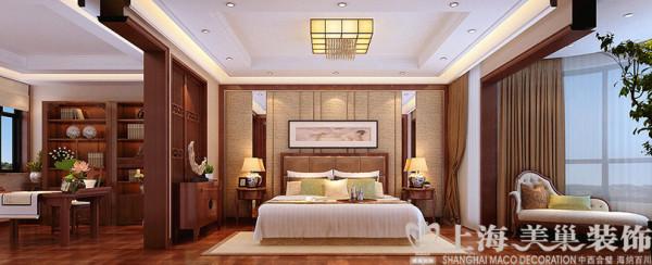 正弘蓝堡湾200平四室两厅新中式装修案例——卧室效果图