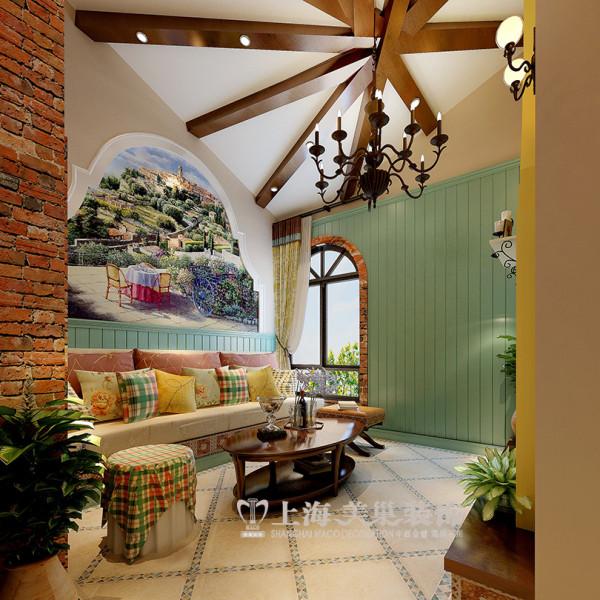 建业森林半岛挑高45平地中海装修一室一厅样板间效果图——沙发背景墙