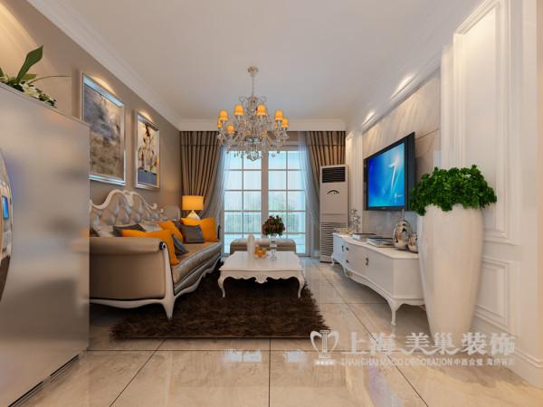 建业贰号城邦简欧风格89平居室装修效果图——两室两厅客厅全景