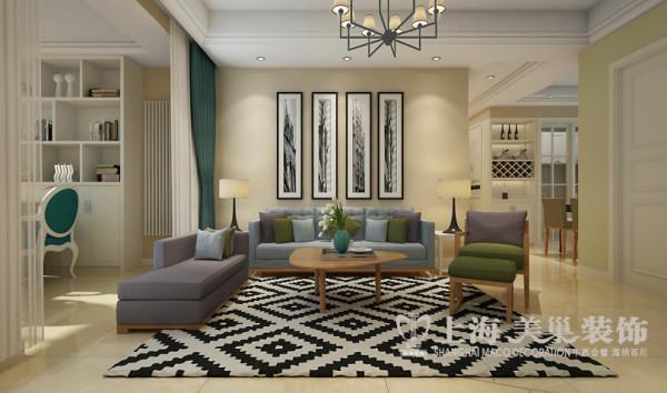 天骄华庭89平户型北欧风格两室两厅装修案例效果图——沙发背景墙