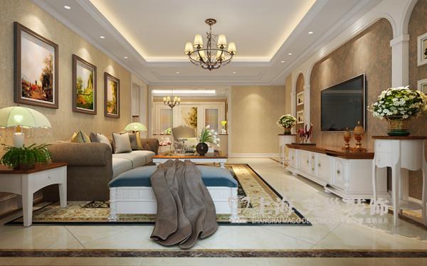 鑫苑名家简欧装修3室2厅140平样板间案例效果图——客厅全景效果图