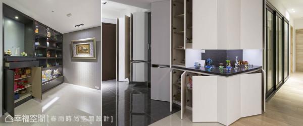 整合展示与收纳机能于单一量体内,避免过多零碎线条切割空间整体性,并巧妙将神明厅融入柜体设计中。