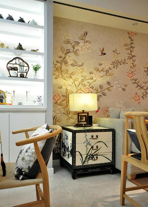 客厅灯具及墙面细节
