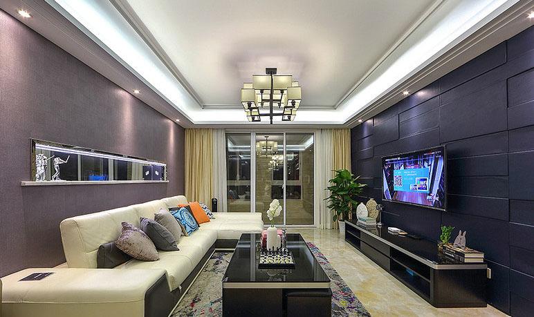 客厅图片来自家装大管家在爱上一个城市 160平现代港式3居的分享