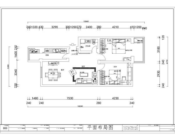 本案为翠溪园两室两厅一厨一卫91平米户型,首先从入户进入是整个的起居室区域,起居室区域布局规整,分布明确。接着是卫生间,之后是主卧室和次卧室。