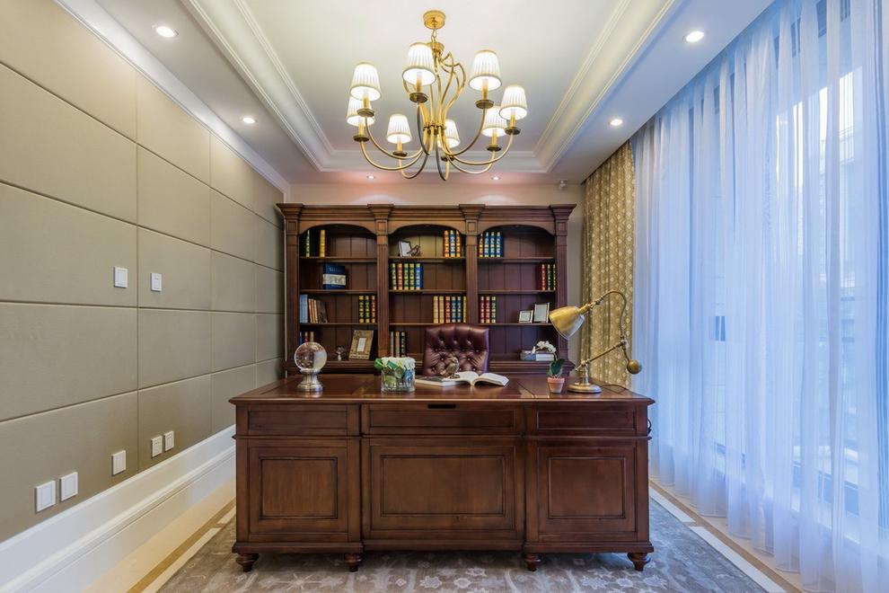美式 书房图片来自紫禁尚品设计师李擎在中建红杉溪谷美式风格的分享