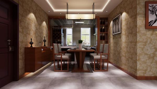 餐厅两侧铺贴壁纸,餐厅与厨房相连,在这里根据业主的需求将厨房做成开放式厨房。餐厅与厨房的中间位置做木质隔断,增加储物功能。