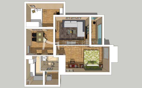 每个空间都稍嫌狭窄,主卧门对着大门,次卧有一个非常小没有实际用途的阳台。