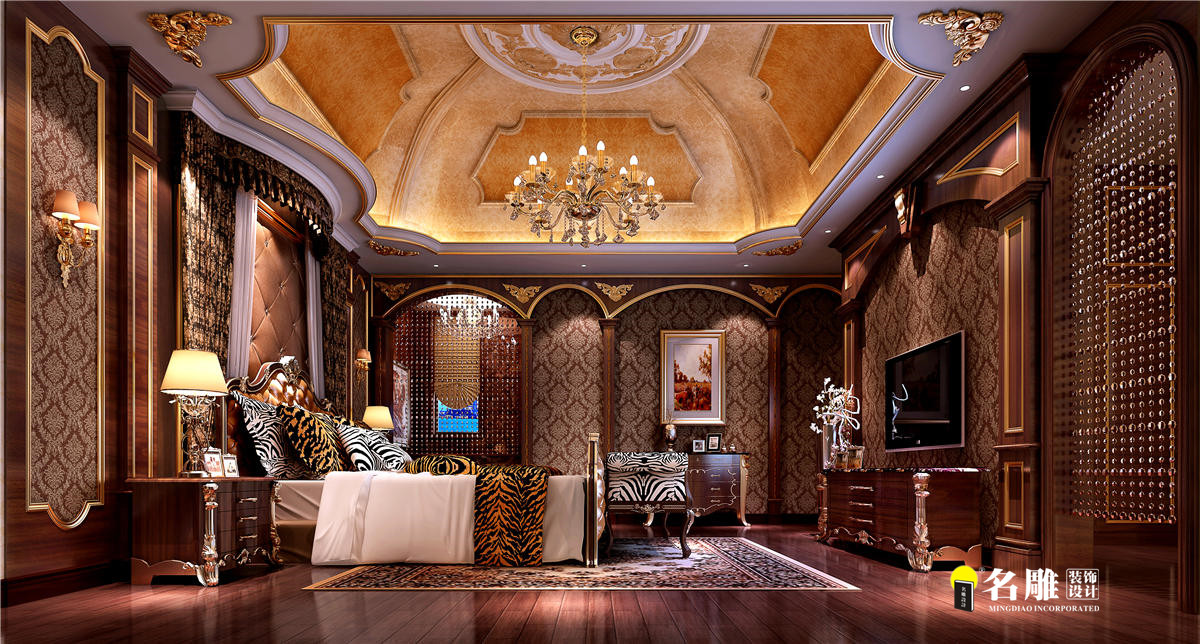 欧式新古典 别墅 成功人士 高档厚重 时尚温馨 卧室图片来自名雕装饰设计在星河丹堤欧式新古典别墅的分享