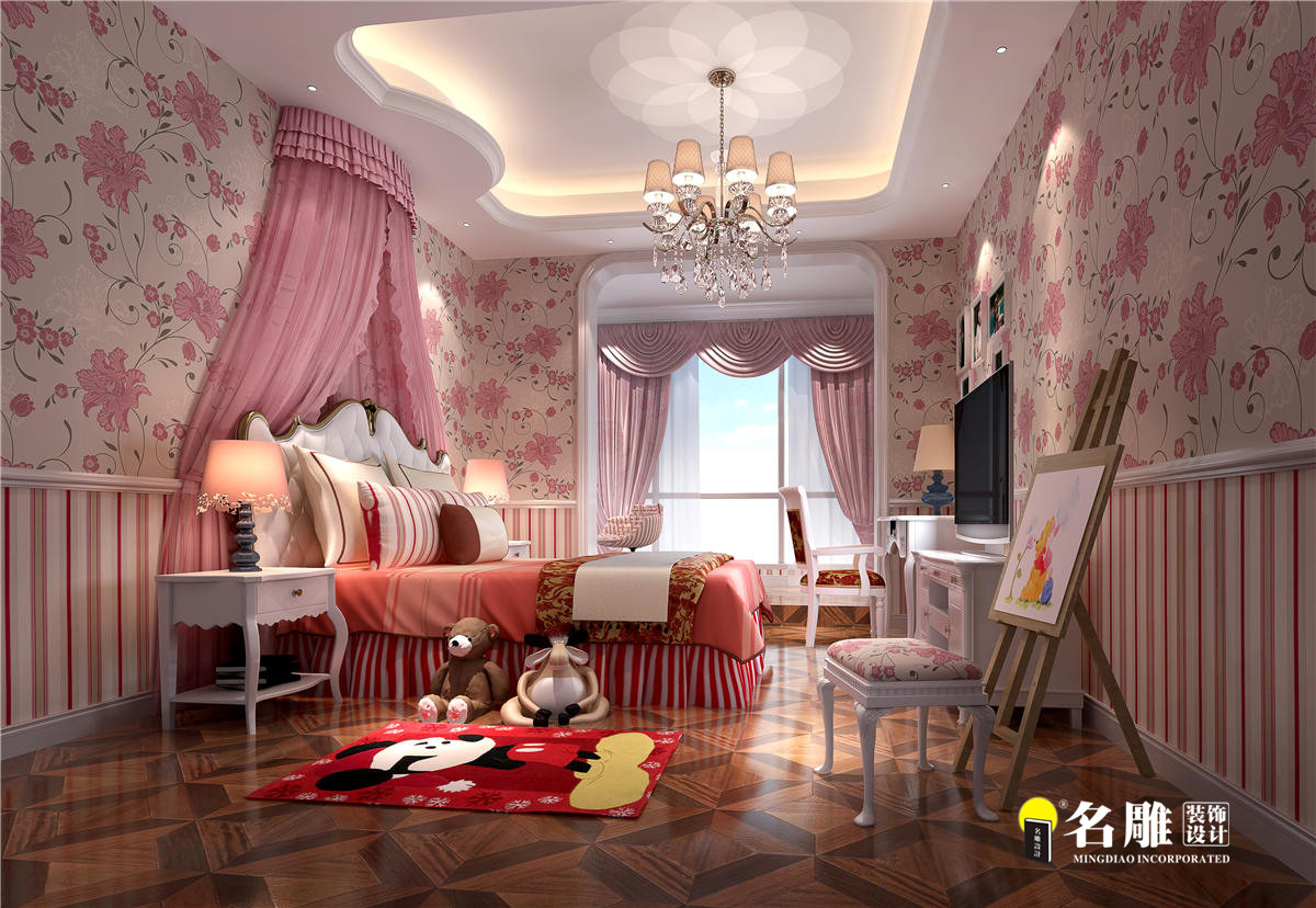 欧式新古典 别墅 成功人士 高档厚重 时尚温馨 儿童房图片来自名雕装饰设计在星河丹堤欧式新古典别墅的分享