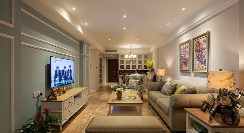简约 小清新 三居 美式 简美 小资 客厅图片来自佰辰生活装饰在一墙花开一窗暖阳 89平三室两厅的分享