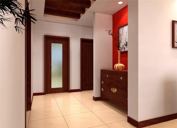 在一个不规则的空间里,使少量的中式家具,同样营造出一个极为浓郁的古典风格的家居环境,而墙上的漆画和石材以及起到画龙点睛的作用。