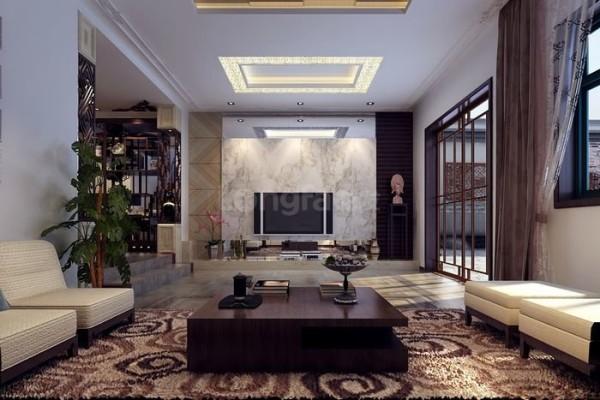 现代中式风格客厅效果图