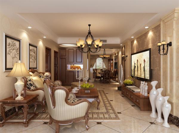宝华现代城三房装修美式风格设计方案展示,上海聚通装潢设计案例,欢迎品鉴!