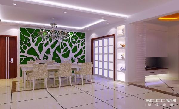 餐厅背景墙的设计墙面采用绿色墙漆与石膏板造型相结合提升了这个单独区域的活跃感,更增强了业主用餐时的愉悦心情,搭配上现代元素的家具,提升了主人的品位。