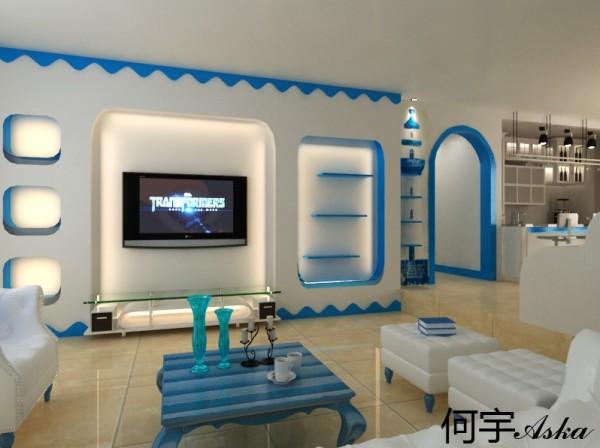 电视背景墙,也采用的蓝白搭配,稍有地中海风格