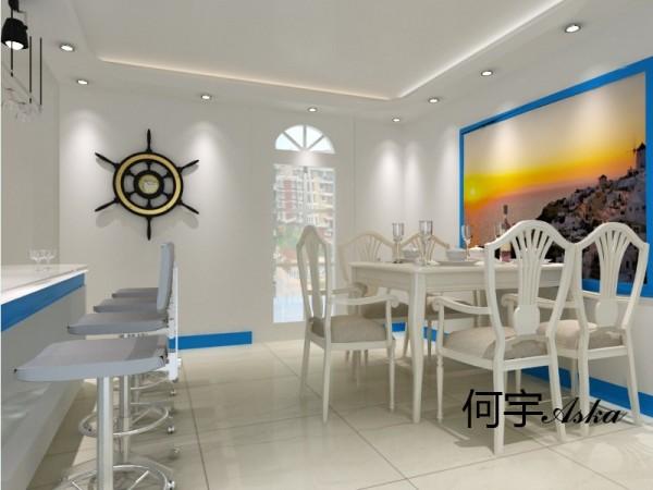 蓝白搭配,有点地中海的风格,安逸,舒适