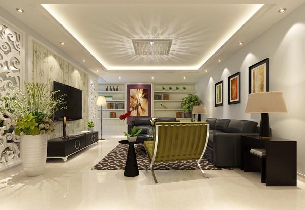 客厅整体设计效果展示,客厅做回型吊顶设计,客厅的壁纸选择淡绿色壁纸做装饰。