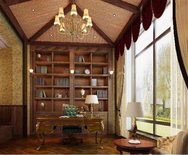 别墅 美式 王斌 东易日盛 书房图片来自武汉东易日盛在城投翰城--美式--王斌的分享